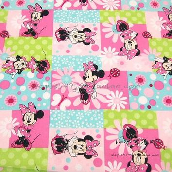 105X100cm Pink Blue Green Jigsaw Puzzle Minnie Mouse Cotton Fabric for Girl Clothes Bedding Set Sewing Hometextile DIY-AFCK409