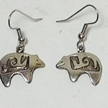 Indian Bear Earrings, Pierced, Totem Bear, Surgical Steel Wires, Silver Tone, Carved, Engraved, Hippie, Boho, Southwest, Cowgirl,Never Worn