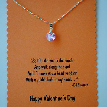 Ed Sheeran Valentine's Heart Pendant Necklace with Lyrics