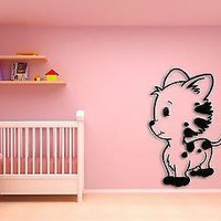Wall Sticker Cute Cat Kitty Pets Animals Modern Decor for Bedroom Unique Gift z1437
