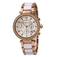 Michael Kors MK5774 Women's Parker Chrono White Dial Two Tone Bracelet Watch