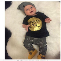 0-24M Newborn Baby Boy Clothing Set Toddler Clothes Set Infant Boys Outfits MAMAS BOY T Shirt And Pants Summer Costumes