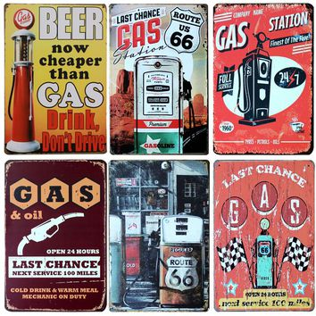 Hot Gas Station And Gasoline Vintage Retro Metal Signs Home Decor Vintage Tin Signs Pub Vintage Decorative Plates Metal Wall Art