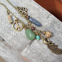 Zen Balance Charmed Necklace with metal charms and gemstone dangles - Om Angel wing Peace sign