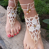 Hand crochet sexy barefoot lace sandals beige with by dachuksb7196