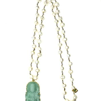 Jade Quan Yin with Fresh Water Pearl Necklace