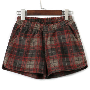 Brown Plaid Elastic Waist Woolen Shorts