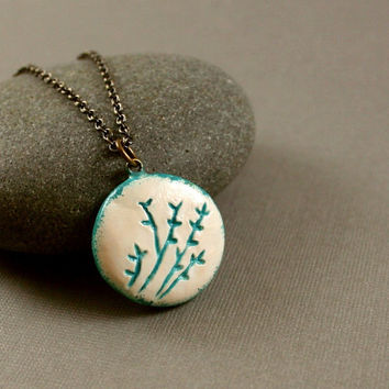 Teal Coral Necklace - Polymer Clay