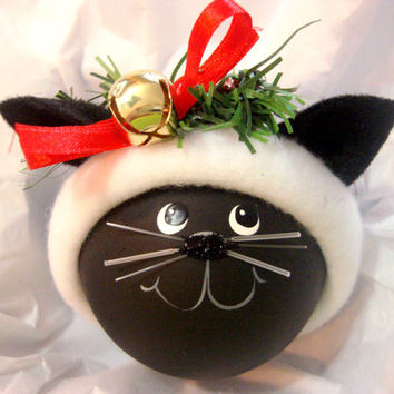BLACK CAT ORNAMENT Jingle Bell Star Orange Hat Color Choice Christmas Townsend Custom Gifts