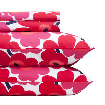 UNIKKO QUEEN SHEET SET RED/WHITE