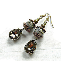 Grey boho earrings with Lampwork and Rhinestone pendant, Elegant Smokey Grey lampwork earrings, Gypsy earrings, Bohemian Pendant earrings