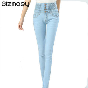 High Waist Jeans Woman Pants Plus Size Stretch Elastic Skinny Casual Slim Pencil Denim Female Boyfriend Jeans For Women BN844
