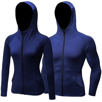 Womens Men Sportswear Hooded Zipper Quick Dry Sport Jacket Outwear Yoga Gym Night Joggers Running Tops for Valentine's Day