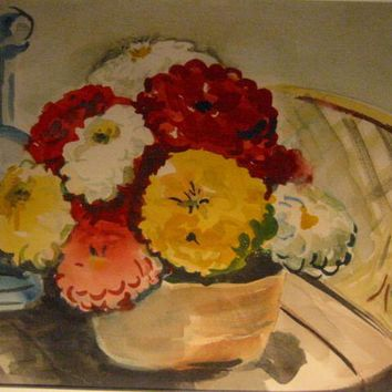 Still Life Watercolor Contemporary Folk Art Flowers In Basket Modern Frame