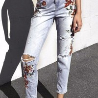 Vintage Embroidery High Waisted Jeans