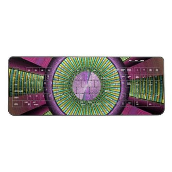 Round And Colorful Modern Decorative Fractal Art Wireless Keyboard