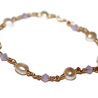 columba - lilac bracelet by lilla stjarna - gifts under 50 - gold bangle bracelet - wirewrapped jewelry - pearl bracelet
