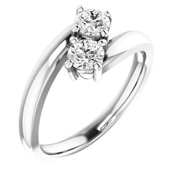 1/2 Ct Diamond Two Stone Love Engagement Ring  14k White Gold