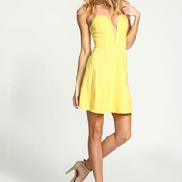 YELLOW SWEETHEART PLUNGE BODYCON DRESS