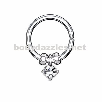 Annealed Bendable Cut Ring with Removable Prong Set Crystal and Steel Beads 18ga 16ga