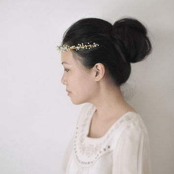 Starry Night headband - light green golden wedding headpiece, bridal beaded crown