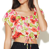 Rose Chiffon Crop Top | Wet Seal