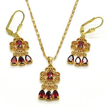 Gold Layered 10.283.0014 Necklace and Earring, Teardrop Design, with Garnet Cubic Zirconia, Polished Finish, Golden Tone