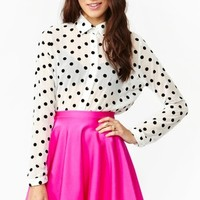 Velvet Dot Blouse - White