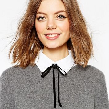 ASOS White Bib With Black Velvet Tie at asos.com