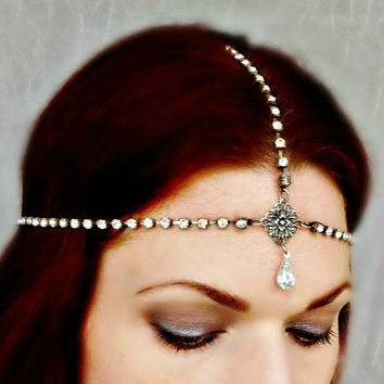 Great Gatsby Art Deco Bridal Headpiece Chain  - Vintage Rhinestone Flapper Headdress