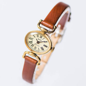 Vintage small lady's watch gold plated, tiny woman's watch Dawn, oval wristwatch gift her, retro watch for women, genuine leather strap new