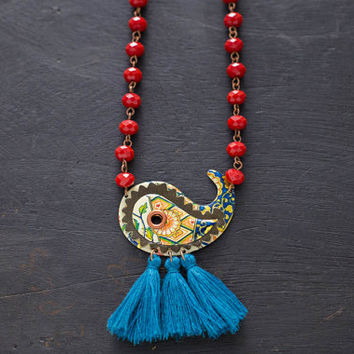 Leather and Vintage Tin Tassel Paisley Necklace with Rosary Bead Chain, Paisley Necklace, Blue Tassel Necklace, Hindi Jewelry