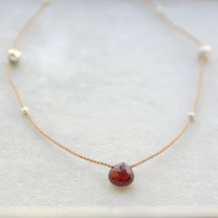 GOCCIA necklace // red garnet heart pendant, pyrite beads, champagne color silk cord, sterling silver