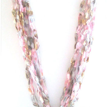 ON SALE Bead Crochet Necklace Ladder Yarn Necklace Crocheted with Trellis Ladder Ribbon Yarn Pink Champagne Modern Chic Jewelry