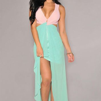 Chicloth Pink Green Cut-Out Side Slit Maxi Dress