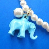 Elephant Charm Animal Stretchy Bracelet in Turquoise with Pearls