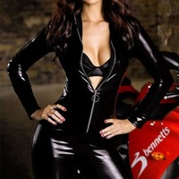 Chicloth Black Smooth Panel Leather Suit