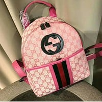 GUCCI Popular Women Men Shoulder School Bag Zipper Bookbag Backpack Pink I-WXZ2H