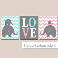 TWIN ELEPHANT Nursery Wall Art, Canvas or Prints, Baby Girl Boy Elephant Artwork, Twin Bedroom Decor, Pink Aqua Elephant Pictures Set of 3