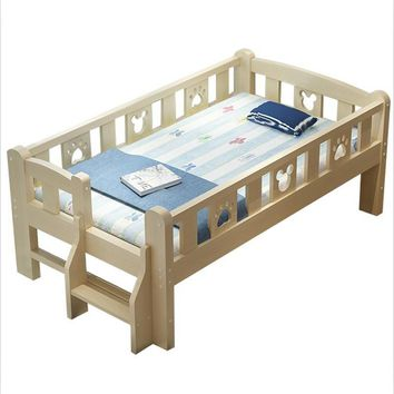 Wooden children guardrail boy girl princess kid widens single crib stitching bed