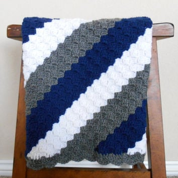 Crochet Baby Blanket for Boys - Baby Shower Gift for Boys - Cowboys Baby Blanket - Machine Washable Baby Blanket - Crochet Baby Afghan