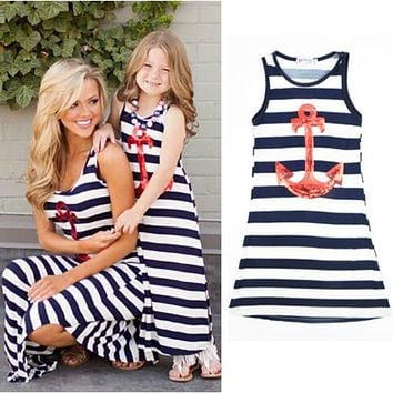 Matching Outfits Mom Daughter Striped Anchors Girls Beach Dress