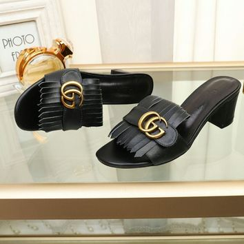 Gucci Popular Summer Women Flats Men Slipper Gucci Sandals Shoes