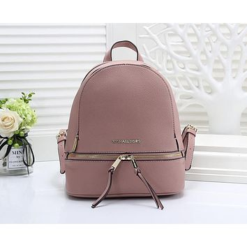 Michael Kors MK Fashionable Women Casual Leather Shoulder Bag School Bag Backpack Pink