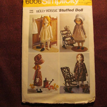 Sale Complete 1970's Simplicity Sewing Pattern, 6006! Holly Hobbie Stuffed Doll/Rag Doll & Wardrobe/Transfers/Doll Clothes/Dress/Bloomers/Sl