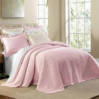 Florence Oversized Quilted Bedspread (Rose,Queen)