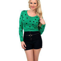 Green & Black Polka Dot Long Sleeve Crop Sweater