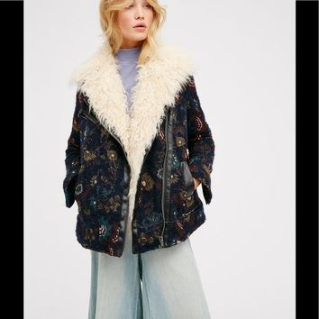 Free People Jacquard Wool Coat Faux Fur Coat
