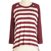 ModCloth Mid-length Long Sleeve Afternoon of Movies Top in Burgundy