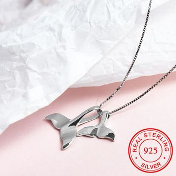 925 Sterling Silver Ocean Sea Whale Tail Fish Nautical Charm Mermaid Tail Pendant Necklace for Women Lover Dolphins Brincos 2018